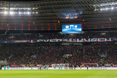 Interior view of the full BayArena Stadium during the UEFA Champ Royalty Free Stock Images