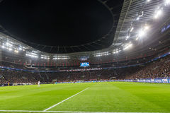 Interior view of the full BayArena Stadium during the UEFA Champ Stock Photography
