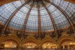 Interior view of the Galeries Lafayette Haussmann, a Parisian sh. Paris, France - August 7, 2018: Interior view of the Galeries Lafayette Haussmann, a Parisian royalty free stock photos