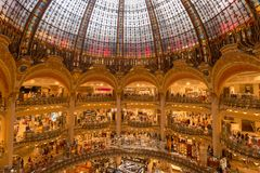 Interior view of the Galeries Lafayette mall. Paris, France - 25 June 2018: Interior view of the Galeries Lafayette mall Royalty Free Stock Photography