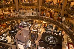 Interior view of the Galeries Lafayette mall. Paris, France - 25 June 2018: Interior view of the Galeries Lafayette mall Royalty Free Stock Photos