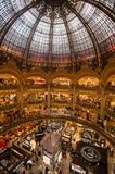 Interior view of the Galeries Lafayette mall. Paris, France - 25 June 2018: Interior view of the Galeries Lafayette mall Stock Photography