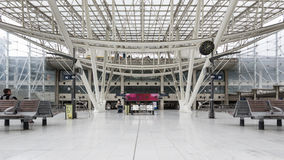 Interior view of Gare De Nord Train Station. PARIS, FRANCE - MAY 20, 2014: Interior view of Gare De Nord Train Station that connects to Charles De Gaulle TGV Royalty Free Stock Photos