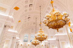 The interior view of the Georgievsky hall in the Grand Kremlin Palace in Moscow. Stock Photography