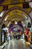 Interior view of Grand Bazaar in Istanbul Royalty Free Stock Images