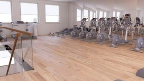 Interior view of a Gym. 3D Render of a Interior view of a Gym Royalty Free Stock Images