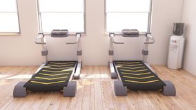 Interior view of a Gym. 3D Render of a Interior view of a Gym Stock Photos