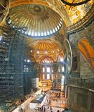 Hagia Sophia Mosque Istanbul Interior Arcs. Interior view of Hagia Sophia Mosque Istanbul Panoramic royalty free stock photography