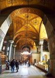 Hagia Sophia Mosque Istanbul Interior Arcs. Interior view of Hagia Sophia Mosque Istanbul Panoramic royalty free stock images