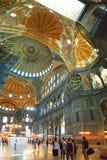 Hagia Sophia Mosque Istanbul Interior Dome. Interior view of Hagia Sophia Mosque Istanbul Panoramic stock images