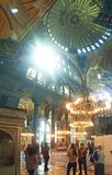 Hagia Sophia Mosque Istanbul Interior Dome. Interior view of Hagia Sophia Mosque Istanbul Panoramic royalty free stock photography