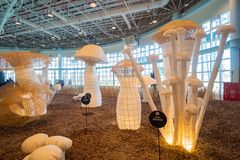 Interior view of the Harvest Blessings Pavilion of Taichung World Flora Exposition. Taichung, DEC 22: Interior view of the Harvest Blessings Pavilion of Taichung stock image