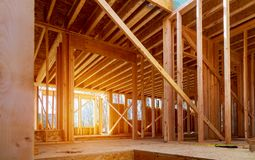 Interior view of a house under construction stock photography