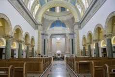 Interior view of the Immaculata church of University of San Dieg. San Diego, JUN 27: Interior view of the Immaculata church of University of San Diego on JUN 27 Stock Photo