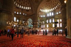 Interior view of Istanbul's famous blue mosque Royalty Free Stock Images