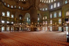 Interior view of Istanbul's famous blue mosque Stock Photography