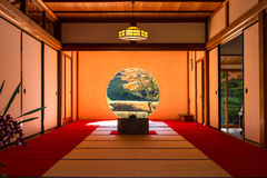 A interior view of Japanese tearoom in Autumn. KANAGAWA, Japan - DEC 5, 2015: A interior view of Japanese tearoom in Autumn Royalty Free Stock Image