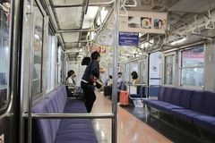 Interior view of Japanese  train. At 2016 Stock Image