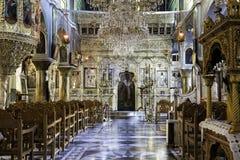 Interior view of Kimisis tis Theotokou church in Pyrgi Royalty Free Stock Photos
