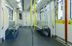 Interior view of the LRT Light Rail Transit,it is a public rail transport service in Klang Valley. Kuala Lumpur,July 2,2018 : Interior view of the LRT Light Rail stock photos