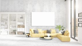 Interior with view, luxury yellow home furnishings, empty frame and copyspace in horizontal arrangement. 3D rendering. Stock Image
