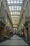 Interior view of Madlerpassage arcade in Leipzig. Leipzig, Germany – April 8, 2016. Interior view of Madlerpassage arcade, a lavish mix of neo-Renaissance and Stock Photography