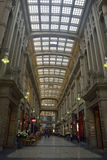 Interior view of Madlerpassage arcade in Leipzig. Leipzig, Germany – April 8, 2016. Interior view of Madlerpassage arcade, a lavish mix of neo-Renaissance and Royalty Free Stock Photo