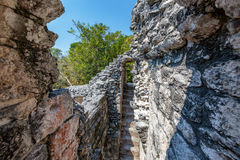 Interior View of Mayan Ruins. View from within a temple in the Mayan ruins of Chicanna, Mexico royalty free stock photo