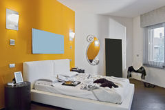 Interior view of a modern bedroom Stock Photos
