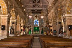 Interior view of a modern church. With empty pews royalty free stock photos