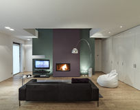 Interior view of a modern living room Stock Photos
