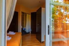 Interior, view of modern resort hotel room Royalty Free Stock Photo