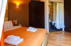 Interior, view of modern resort hotel room stock photos