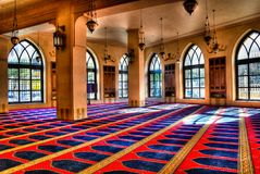 Interior view of Mohammad Al-Amin Mosque 05-05-2012 Beirut, Lebanon. Interior view of Mohammad Al-Amin Mosque at Beirut, Lebanon Royalty Free Stock Photography
