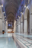 Interior View, National Cathedral, Washington, DC. Washington, DC - February 4, 2016: Interior view, facing rear, of Washington National Cathedral nave with no royalty free stock photo