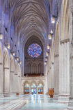 Interior View, National Cathedral, Washington, DC. Washington, DC - February 4, 2016: Interior view, facing to the rear, of Washington National Cathedral nave stock photography