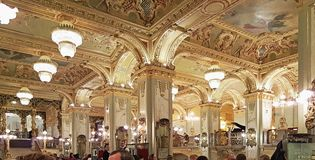 New york cafe in budapest. An interior view of New york cafe in budapest royalty free stock images