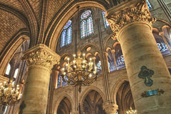 Interior view of Notre Dame Stock Images