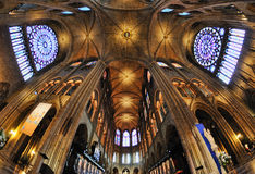 Interior view of Notre-Dame Cathedral, a historic Catholic cathedral considered to be one of the finest examples of French Gothic Royalty Free Stock Image