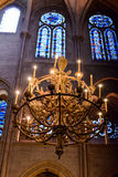 Interior view of Notre-Dame Cathedral, a historic Catholic cathedral considered to be one of the finest examples of French Gothic. France, Paris 28 October 2015 Royalty Free Stock Photography