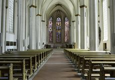 Free Interior View Of A Large Bright Church And Stained Glass With Empty Benches. Stock Image - 159616431
