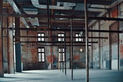 Interior View Of  An Old Historic Factory Workshop In Wuhan City Stock Photos