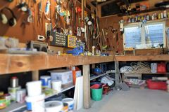 Free Interior View Of Home Garage Workshop Stock Photography - 127261942