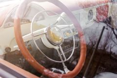 Interior view of old vintage car. royalty free stock image