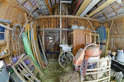 Interior view of an old wooden barn #2 Stock Image