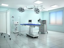 Interior view of the operating room in blue tone. 3d illustratio. N Royalty Free Stock Images
