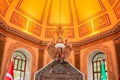 Osman Gazi tomb, mausoleum in Bursa, Turkey. Interior view of Osman Gazi tomb,mausoleum in Bursa,Turkey.20 May 2018 stock image