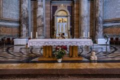 Interior view of Papal Basilica of St. Paul outside the Walls Stock Images