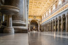 Interior view of Papal Basilica of St. Paul outside the Walls. Rome, Italy - August 21, 2016: Interior view of Papal Basilica of St. Paul outside the Walls . It royalty free stock image