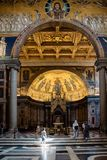 Interior view of Papal Basilica of St. Paul outside the Walls Royalty Free Stock Image